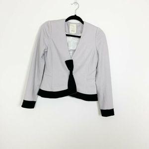 Anthro Elevenses Blazer Jacket Gray Bow-Front